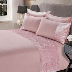 Sienna Crushed Velvet Band Duvet Set - Blush Pink