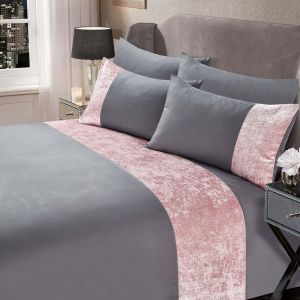 Sienna Crushed Velvet Band Duvet Set - Silver/Blush Pink