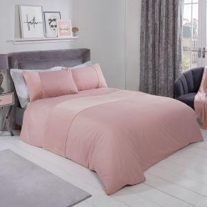 Sienna Faux Fur Panel Duvet Cover Set - Blush Pink