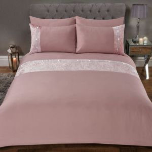 Sienna Lorenza Diamante Crushed Velvet Duvet Set - Blush