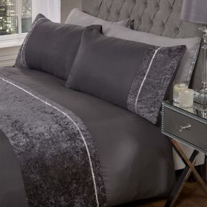 Sienna Lorenza Diamante Crushed Delvet Duvet Set - Charcoal