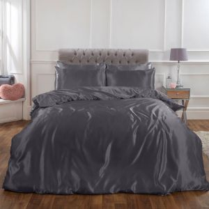 Sienna Plain Satin Duvet Cover Set - Silver Grey