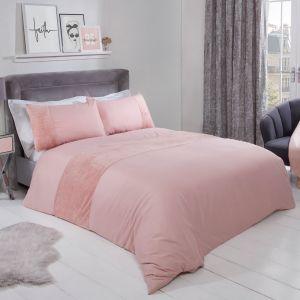Sienna Glitter Teddy Fleece Panel Duvet Cover Set - Blush