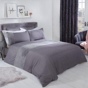 Sienna Glitter Teddy Fleece Panel Duvet Cover Set - Silver
