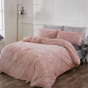 Sienna Teddy Fleece Glitter Duvet Cover Set - Blush