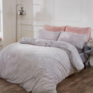 Sienna Teddy Fleece Glitter Duvet Cover Set - Silver Grey