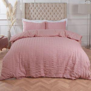 Highams Seersucker Duvet Cover Set - Blush Pink