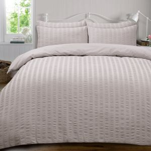 Ruffle Stripe Bedding Set - Silver