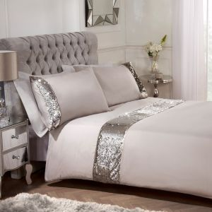 Sienna Mermaid Sequin Duvet Cover with Pillowcase Bedding Set Mink - Double
