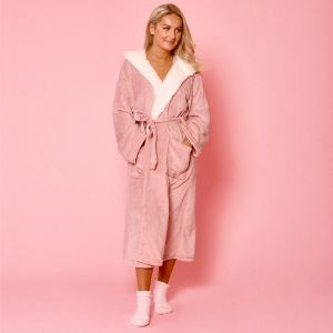 Sienna Hooded Sherpa Fleece Dressing Gown - Blush Pink