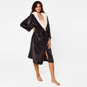 Sienna Hooded Sherpa Fleece Dressing Gown - Charcoal Grey