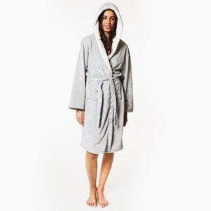Sienna Hooded Sherpa Fleece Dressing Gown - Silver