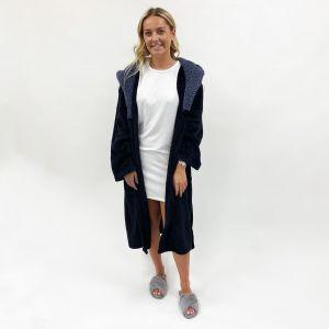 Sienna Hooded Sherpa Fleece Dressing Gown - Black