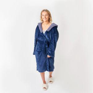 Sienna Hooded Sherpa Fleece Dressing Gown - Navy