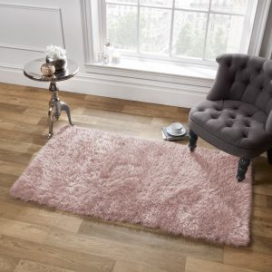 Large Shaggy Soft Floor Rug - Blush Pink