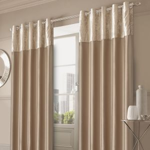 Sienna Home Crushed Velvet Band Eyelet Curtains - Gold