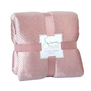 Sienna Glitter Velvet Bedspread Throw - Blush, 150 x 200cm