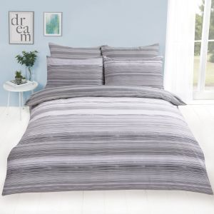 Dreamscene Speckle Stripe Duvet Cover Set - Grey