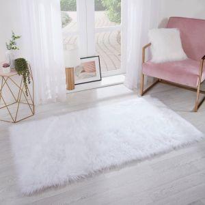 Sienna Faux Fur Sheepskin Rug, Rectangle - White