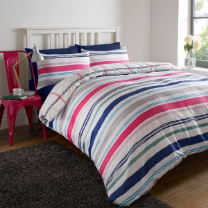 Stripe Duvet Cover Set - Pink Purple