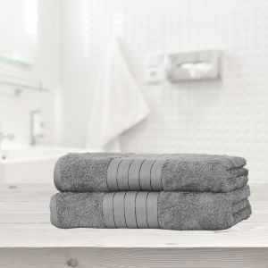Luxury 100% Cotton 2 Jumbo Bath Sheets Large Towels Bale - Silver