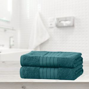 Luxury 100% Cotton 2 Jumbo Bath Sheets Large Towels Bale - Teal