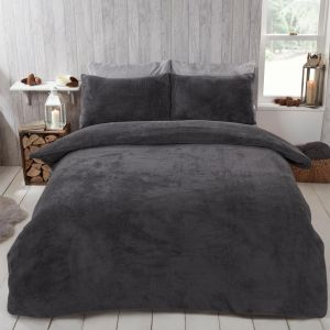 Brentfords Teddy Fleece Duvet Cover Set - Charcoal Grey