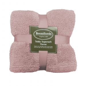 Brentfords Teddy Fleece Blanket Throw, Blush Pink - 125 x 150cm