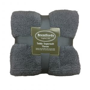 Brentfords Teddy Fleece Blanket Soft Throw Over Bed, Charcoal Grey - 125 x 150cm