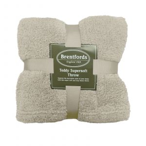 Brentfords Teddy Fleece Blanket Soft Throw Over Bed, Cream - 125 x 150cm