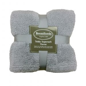 Brentfords Teddy Fleece Blanket Soft Throw Over Bed, Silver Grey - 125 x 150cm