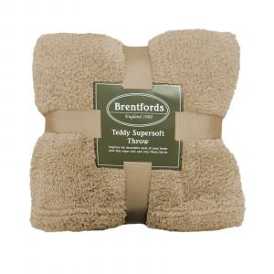 Brentfords Teddy Fleece Blanket Throw, Natural Latte Beige - 125 x 150cm