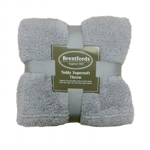 Teddy Fleece Throw - Silver Grey