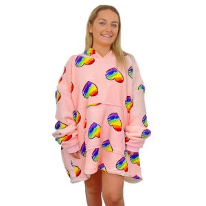 Dreamscene Reversed Rainbow Hearts Hoodie Blanket - Blush
