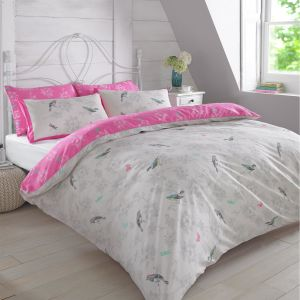 Vintage Birds Duvet Cover Set - Pink White