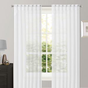 "Brentfords Sheer Voile Curtains, White - 140 x 226cm (55"" x 89"")"