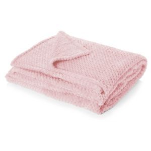 Dreamscene Waffle Mink Throw Single, Blush Pink - 125 x 150cm