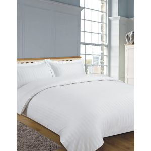 Hotel Stripe 4pc Complete Set with Sheet - White