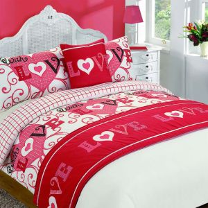 With Love Bed in a Bag Set, Red - Double
