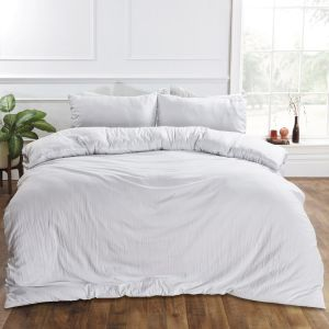 Brentfords Washed Linen Duvet Cover Set - White