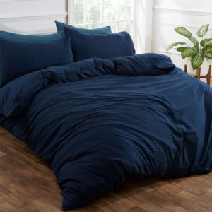 Brentfords Washed Linen Duvet Cover Set - Navy