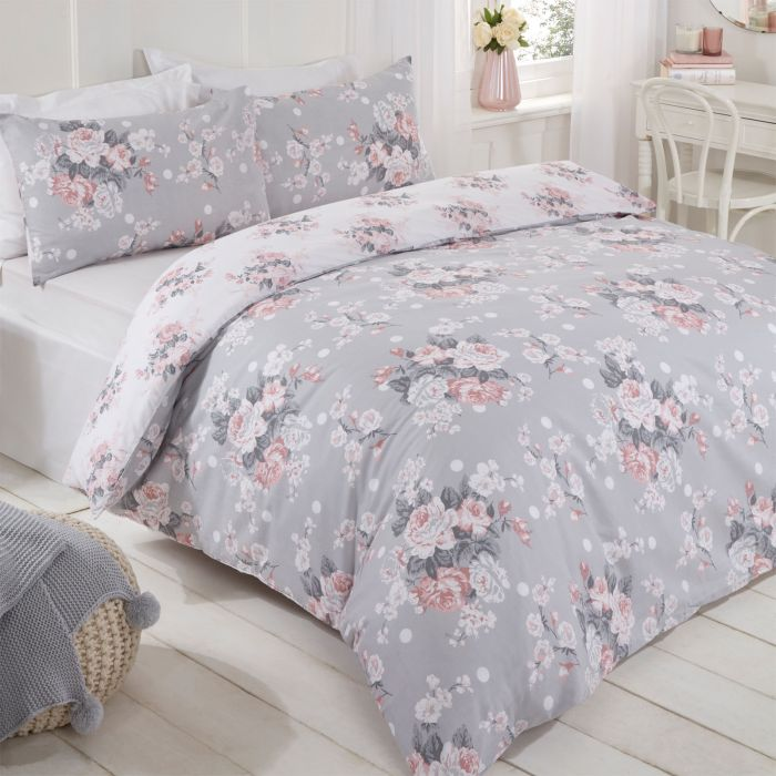 GREY PINK ROSE FLORAL KING SIZE DUVET COMFORTER COVER /& PENCIL PLEAT CURTAINS