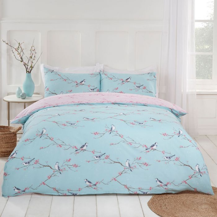 NEW Natural Bird Blossom Floral Reversible Printed Bedding Duvet Set All Sizes