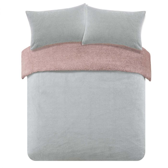 Grey /& Blush Pink Reversible Cotton Duvet Cover Set AND Decorative Pillow