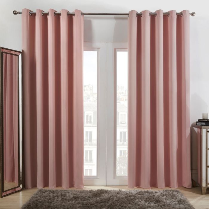 Eyelet Blackout Curtains Blush Pink