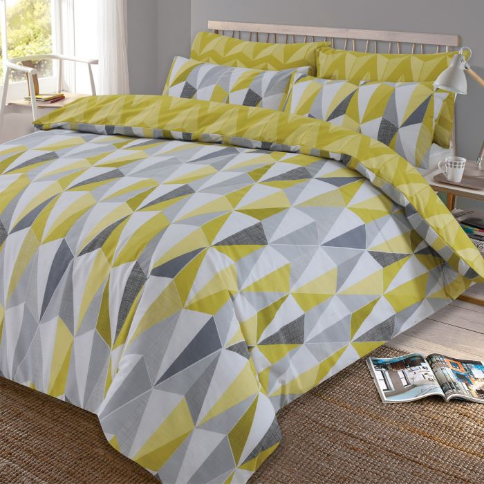 Dreamscene Billie Reversible Geometric Duvet Cover Set Yellow Grey