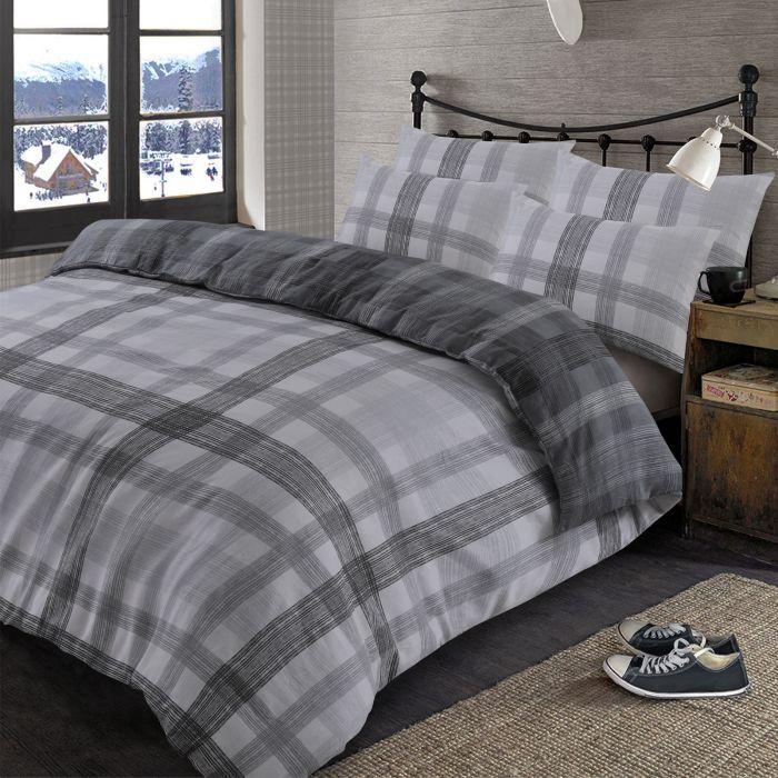 Brushed Check Reversible Bedding Set