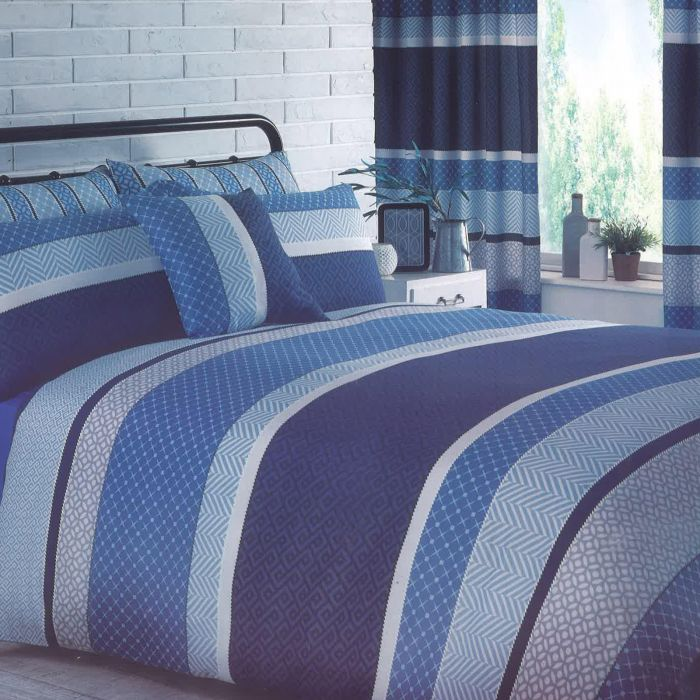 Matching Curtains Denim Blue, Bedding Set With Curtains