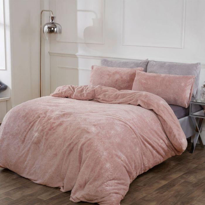 Sienna Teddy Fleece Glitter Duvet Cover, Blush Pink Glitter Bedding
