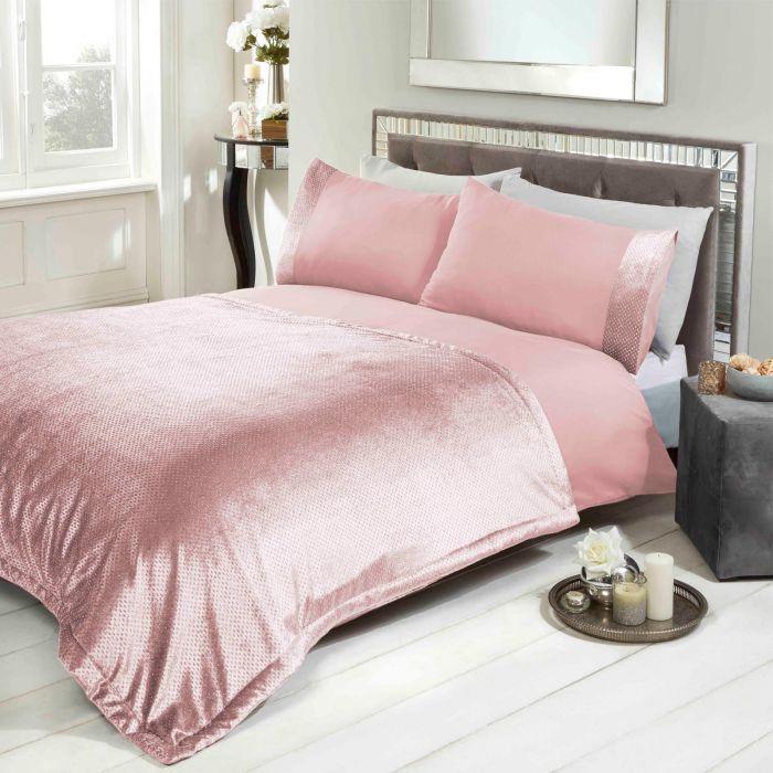 Sienna Glitter Velvet Duvet Cover Set, Blush Pink Glitter Bedding